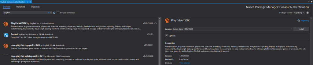 Visual Studio NuGet Package Manager