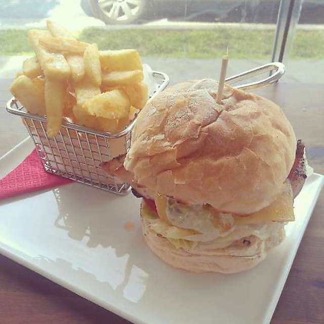 A delectable burger from the Burger Lounge