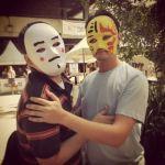 Members of the Drama society wearing masks