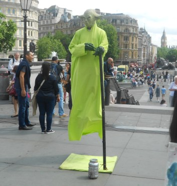 A levitating Yoda outside the National Gallery in Trafalgar Square