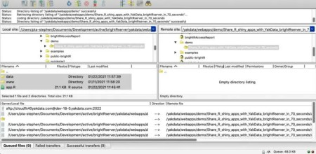 Publish your R shiny app to brightRserver using Filezilla or your favorite SFTP tool/command line