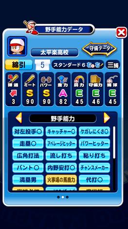 パワプロアプリ 強化太平楽  野手S8 能力