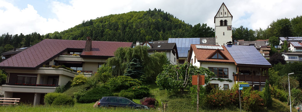 Solar panels on homes in Schonau.