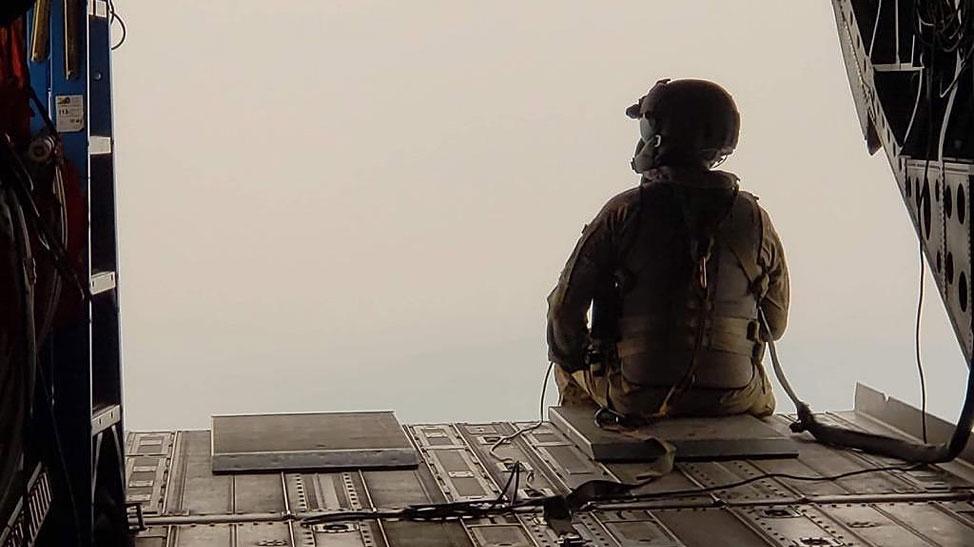 CA National Guardsman in plane
