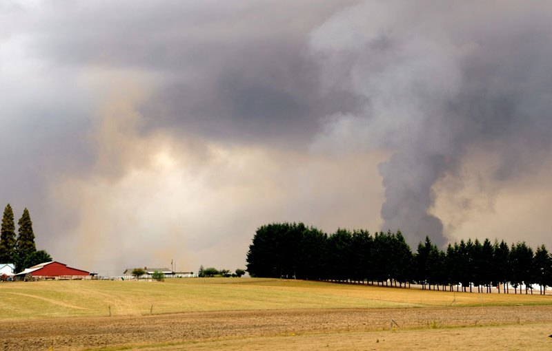 Farmland and wildfire