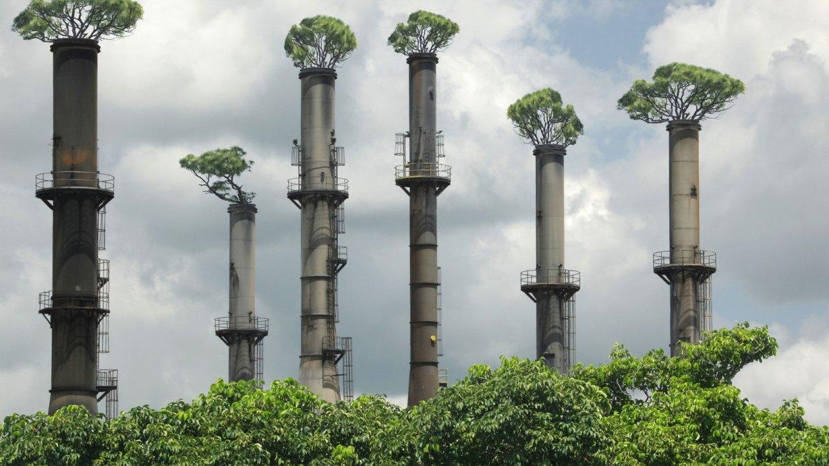 Smokestacks with artificial trees