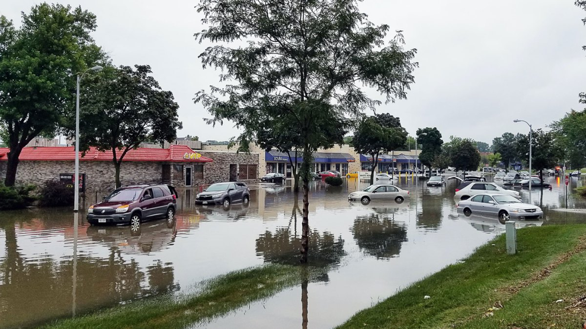 Flooded town streets