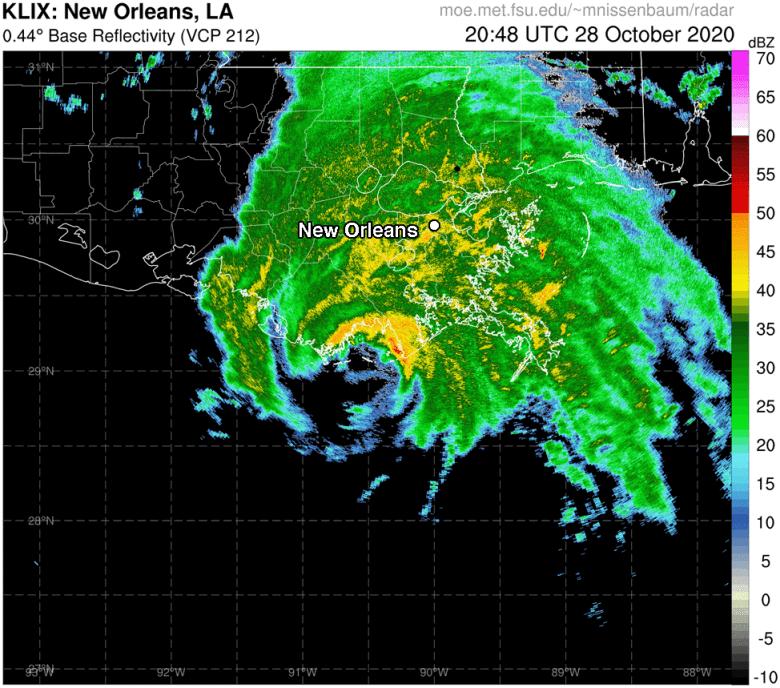Radar image of landfall