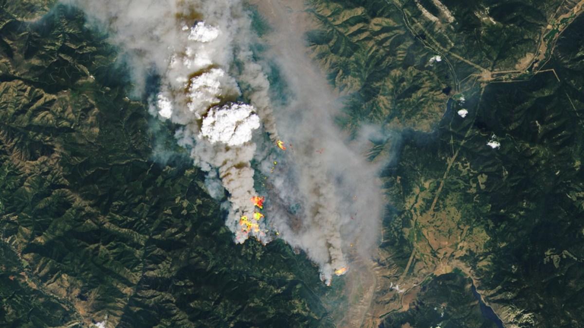 Satellite image of wildfire in British Columbia