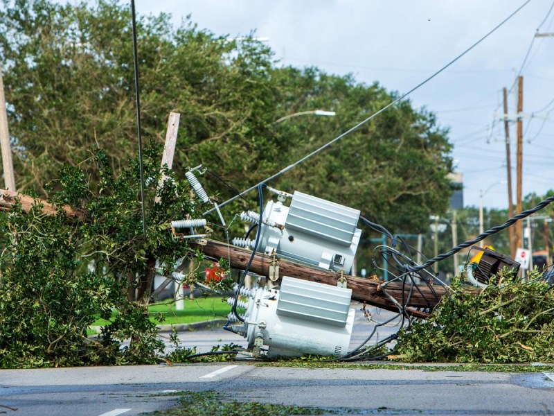 Power pole damage