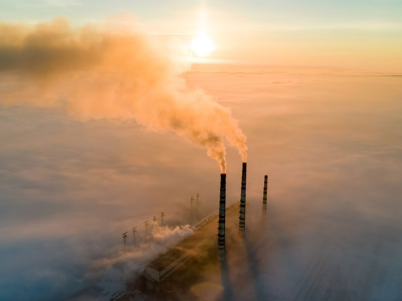 Smokestacks and clouds