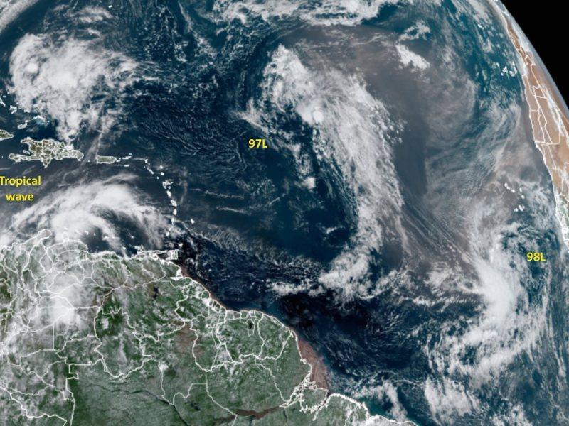 Satellite image of three disturbances in the Atlantic