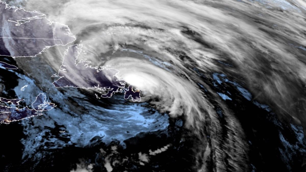 Satellite image of Hurricane Larry over Newfoundland