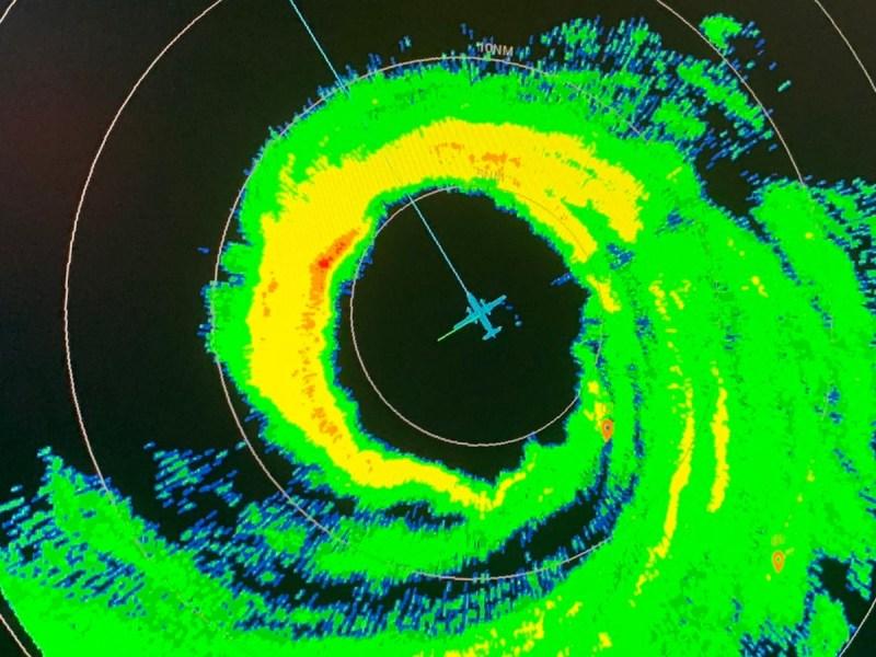 In-flight radar image from Sam, 9/25/21