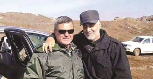 "Hezbollah Commander Ali Fayad, aka ""Alaa of Bosnia"" is shown with major general   Qasem Soleimani  who is Iran's  Quds force   chief. The Quds force is the foreign arm of  Iranian  revolutionary Guard which created Hezbollah in 1982 ."