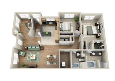 2 Bedroom Penthouse Single-Story (All on second floor)