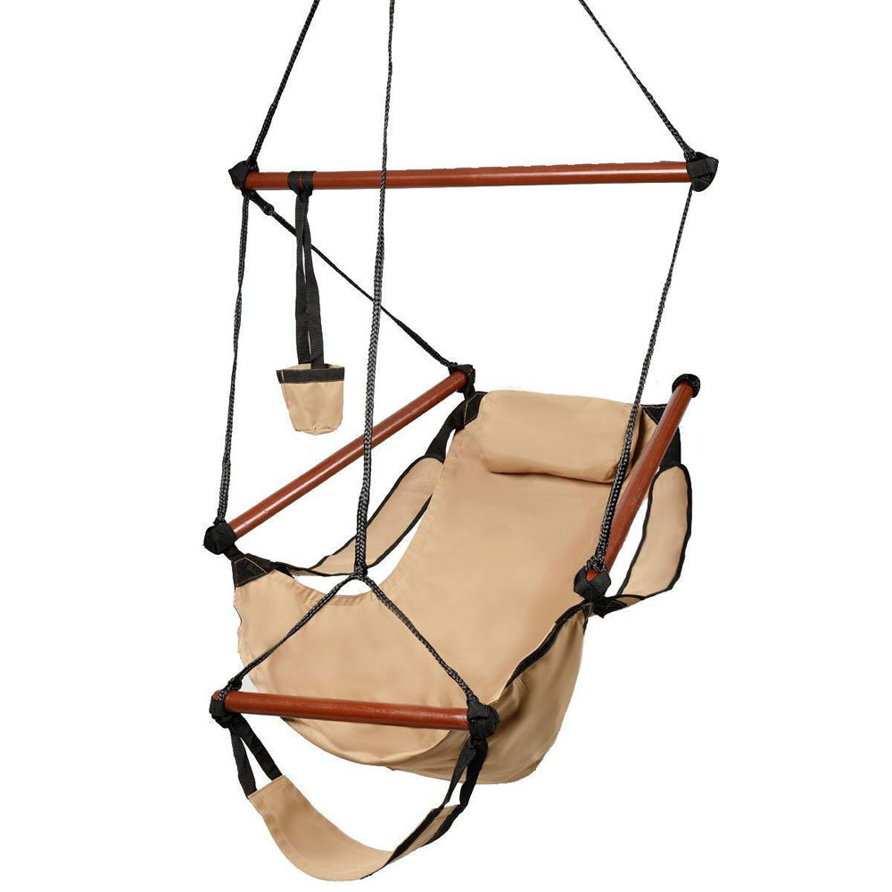 Hanging Chair Outdoor Details About Deluxe Air Hammock Hanging Patio Tree Sky Swing Chair Outdoor Porch Lounge Brown