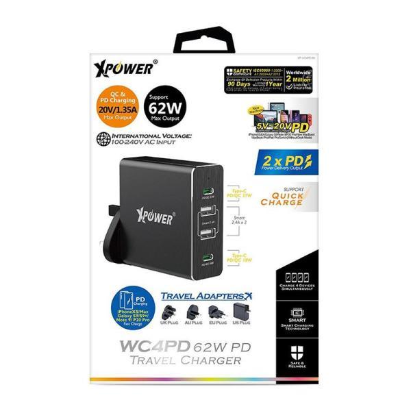 XPower WC4PD (62W) PD Travel Charger - Black-Yallagoom.com.qa