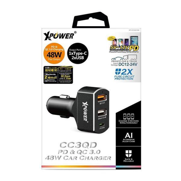 XPower CC3QD PD 18W Quick Charge 3.0 Car Charger - Black-Yallagoom.com.qa