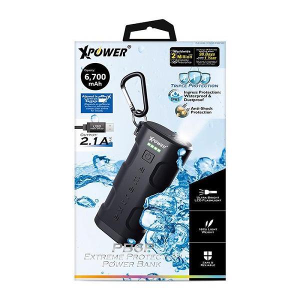 XPower PB6P 6700mAh Extreme Protection Power Bank - Black-Yallagoom.com.qa