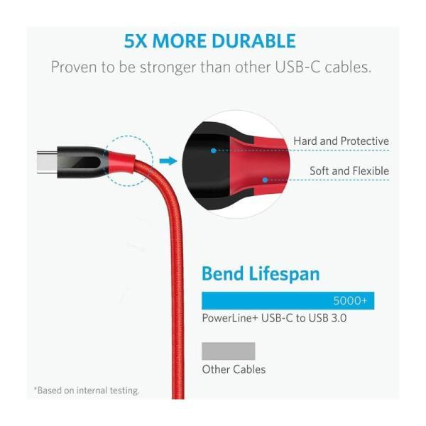 ANKER POWERLINE+USB-C TO USB 3.0 CABLE (6FT) - 1.8M-Yallagoom.com.qa