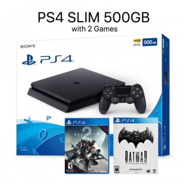 PS4 SLIM 500GB + 2 GAMES-yallagoom.com.qa