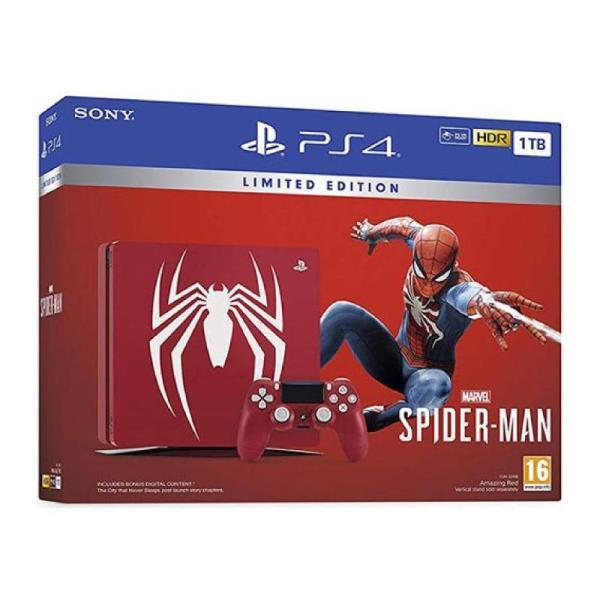 PLAYSTATION 4 SLIM RED PAL 1TB SPIDER MAN BUNDLE-yallagoom.com.qa