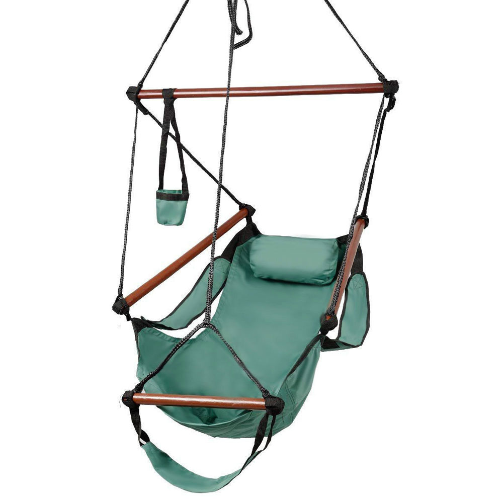 Hanging Chair Outdoor Details About Deluxe Air Hammock Hanging Patio Tree Sky Swing Chair Outdoor Porch Lounge Green