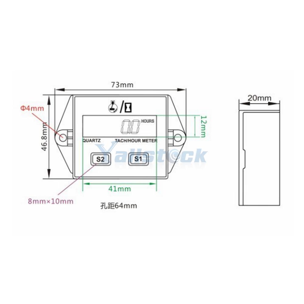 LCD Digital Tach Tachometer Hour Meter For Motorcycle ATV