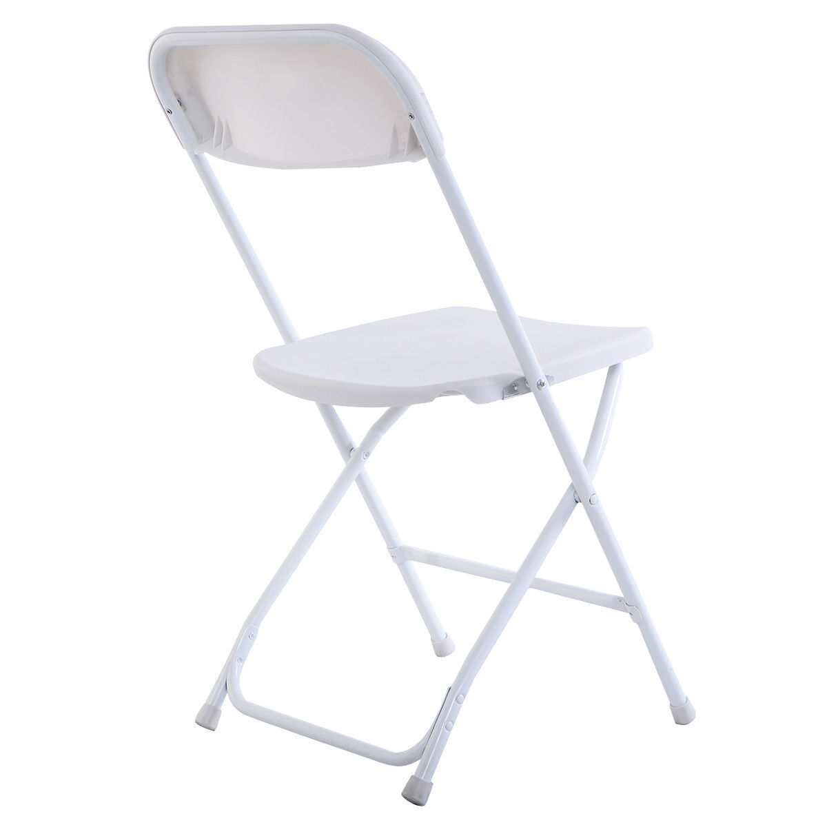 5Pcs New Commercial White Plastic Folding Chairs Stackable