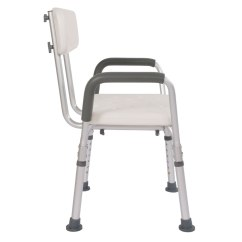 Shower Chair With Back And Armrests Slingback Patio Chairs Clearance Adjustable Medical Bathtub Bench Bath Seat Stool Armrest White
