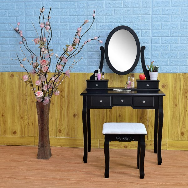 Black Vanity Makeup Dressing Table Set Withstool 5 Drawer