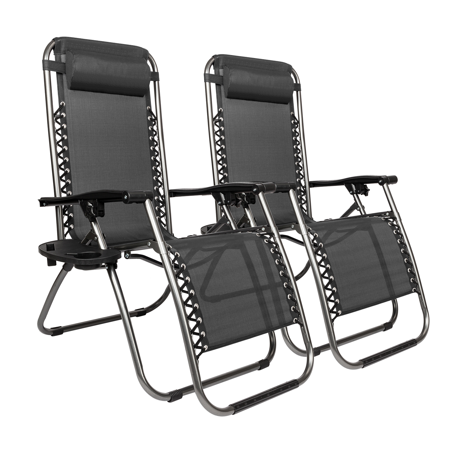 Folding Lounge Chairs 2 Folding Zero Gravity Lounge Chairs 43utility Tray Outdoor