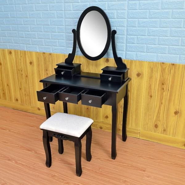 Black Vanity Makeup Dressing Table Set Withstool 5 Drawer