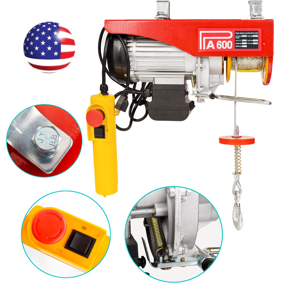 medium resolution of 1320lbs mini electric wire cable hoist winch crane lift overhead remote control