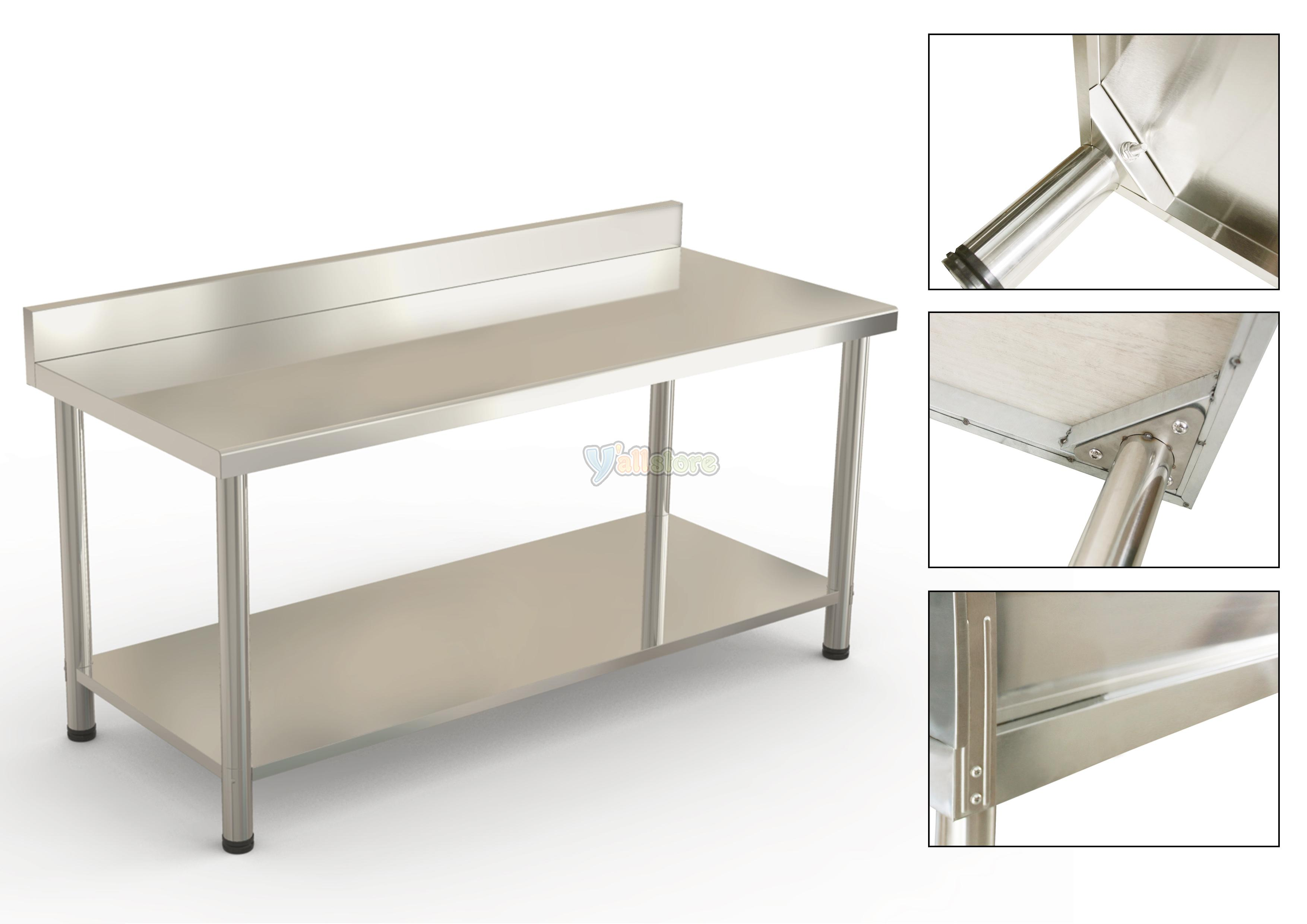 stainless steel kitchen table white wooden chairs 60 quot x 24 work bar