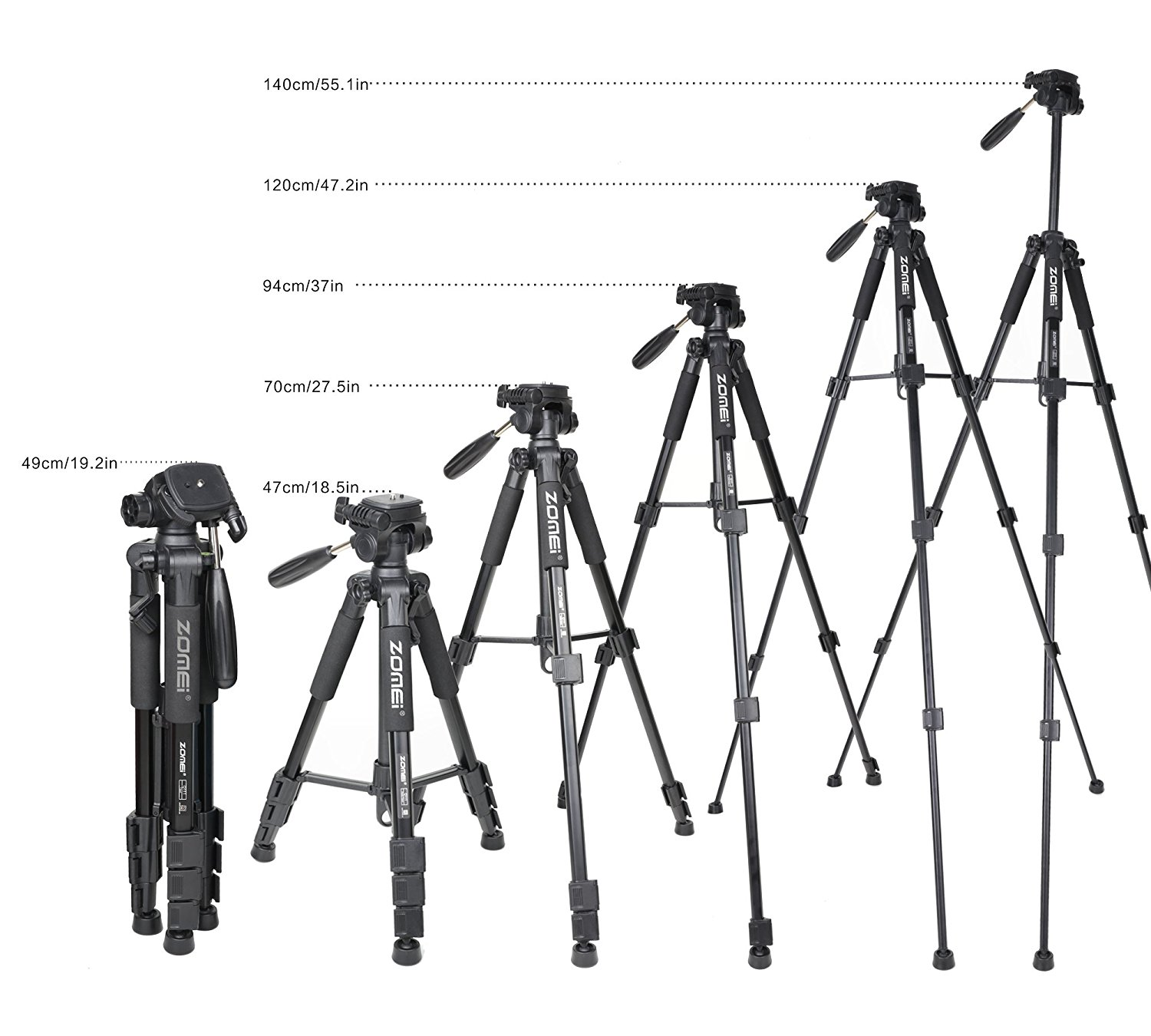 Portable ZOMEI Q111 Al-Alloy Camera Tripod for DSLR Canon