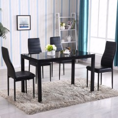 Dining Table With Metal Chairs Zero Gravity For Sale 5 Piece Set 4 Chair Glass Kitchen Room Breakfast New