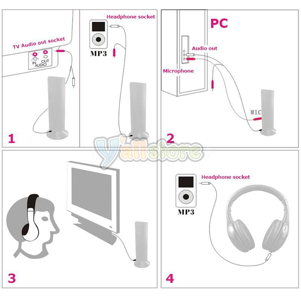 hight resolution of 5 in 1 stereo wireless headset headphone fm transmitter for laptop pc tv us ship