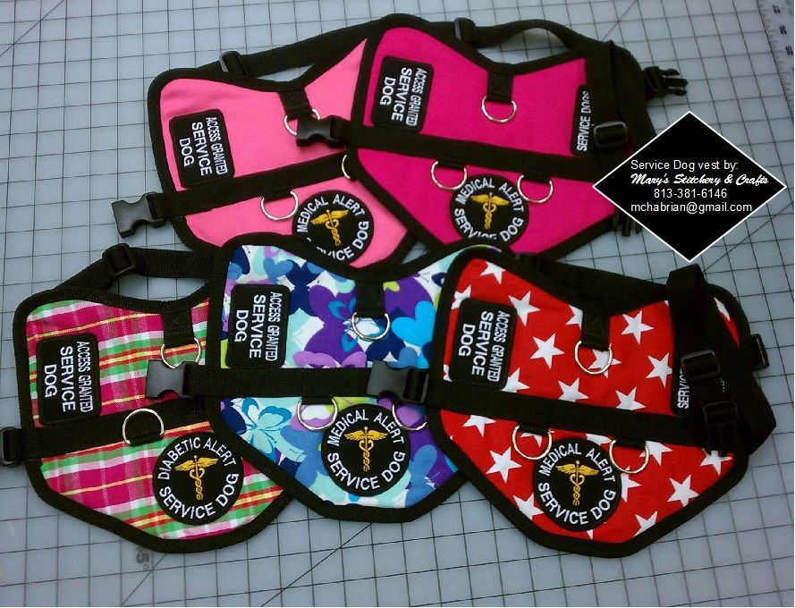 Custom made service dog vest can order specialty fabric