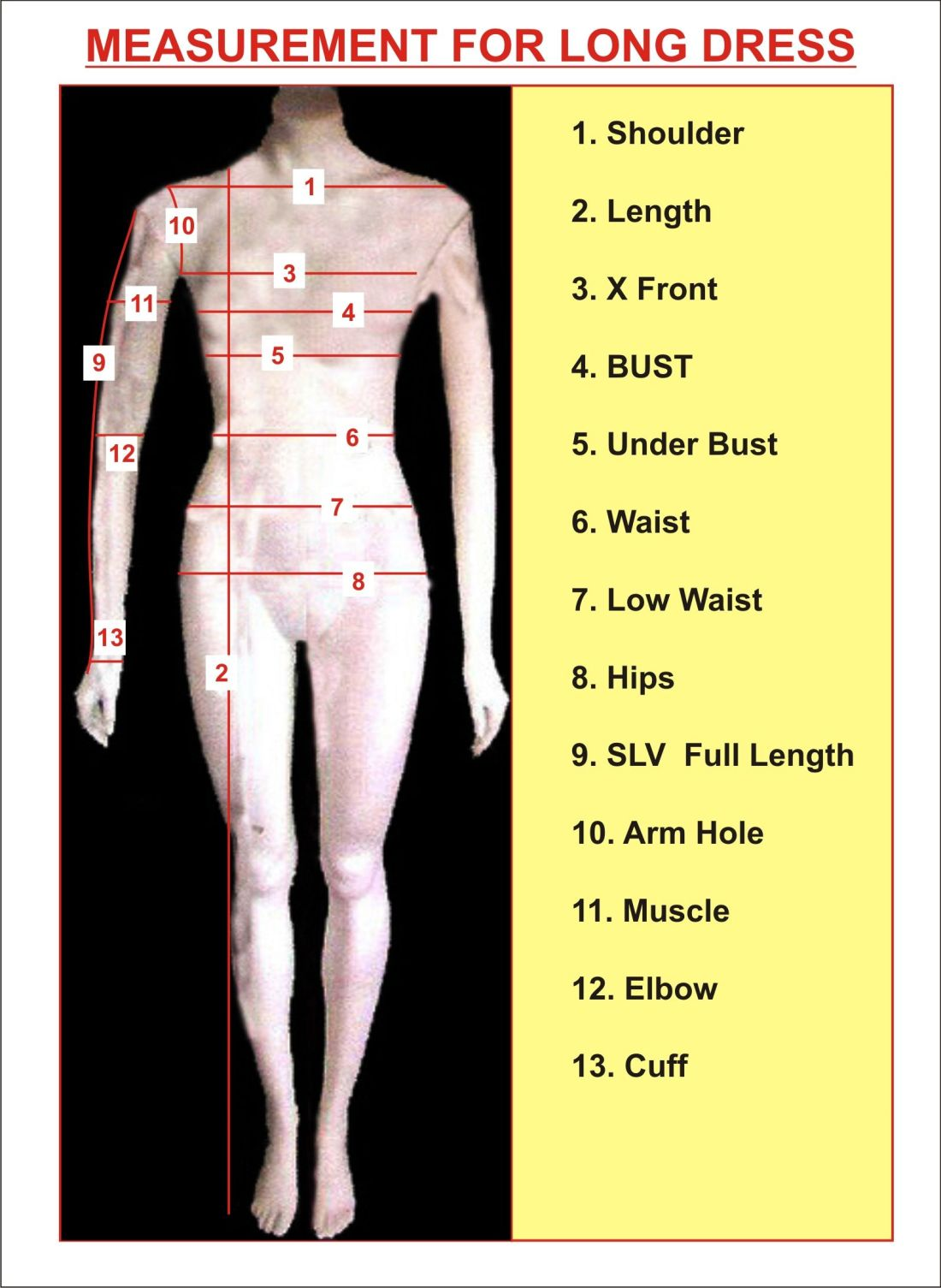 Measurement chart for womens tailoring instruction for