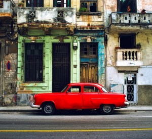 Red Vintage car in Havana