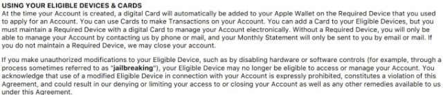 Goldman Sachs Apple Card user agreement
