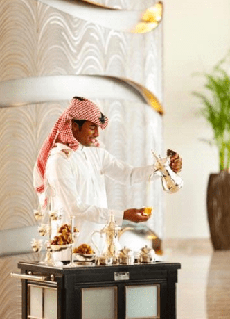 They serve arabic coffee at the hotel entrance