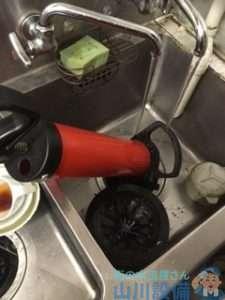 大阪府岸和田市作才町  厨房シンク排水つまり修理  ドレンクリーナー