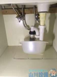 大阪府東大阪市西岩田 洗面台下の水漏れ修理 排水管つまり修理 ドレンクリーナー