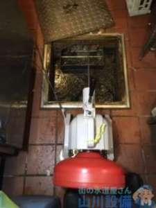 奈良県奈良市油阪池方町  排水管つまり修理  排水蛇腹ホース水漏れ修理交換  ドレンクリーナー