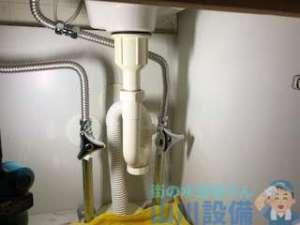 豊中市東泉丘のマンションで洗面所排水つまり修理。原因はスティック管!