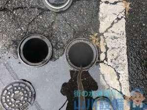 奈良県生駒郡斑鳩町法隆寺南の側溝排水つまり