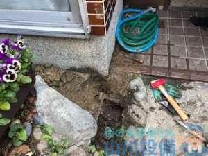 漏水調査をした工務店が動かず 山川設備が給水管を切り換える